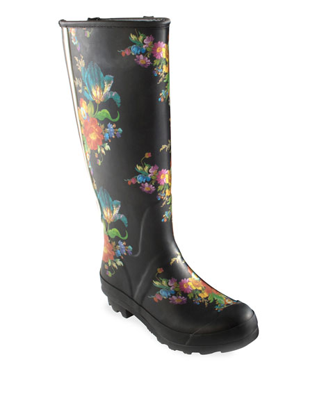 Flower Market Garden/Rain Boots, Size 6