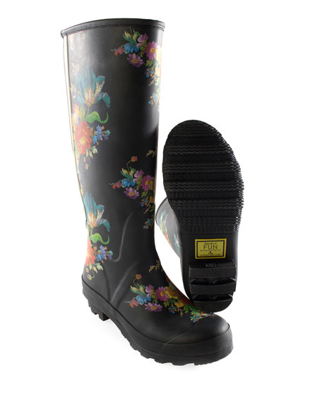 Flower Market Garden/Rain Boots, Size 7