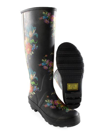 Flower Market Garden/Rain Boots, Size 8