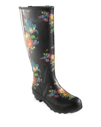 Flower Market Garden/Rain Boots  Size 8