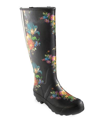 Flower Market Garden/Rain Boots  Size 9