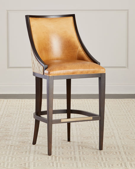 Massoud Chatawa Leather Counter Stool