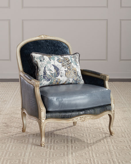 Massoud Larabee Leather Bergere Chair