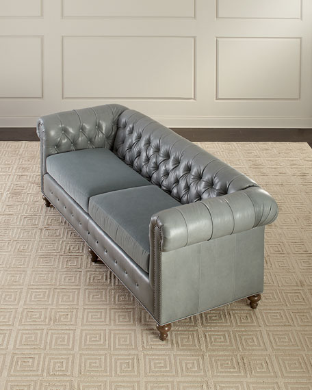 "Sabine Leather Chesterfield Sofa, 93"""