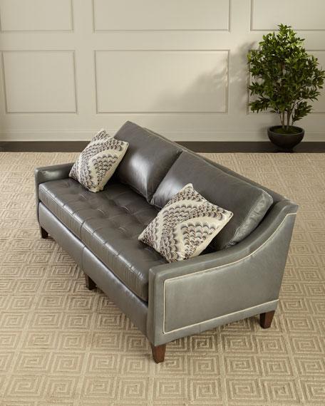 "Duplessis Leather Sofa, 84"""