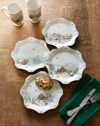 Berry & Thread North Pole Scalloped Dessert Plates  Set of 4