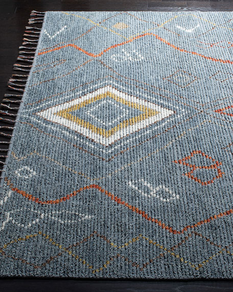 Nahla Blue Hand-Knotted Rug, 5' x 8'