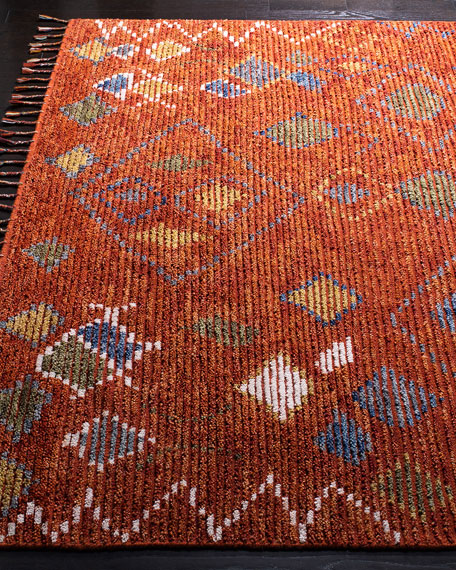 Nahla Currant Hand-Knotted Runner, 2' x 8'