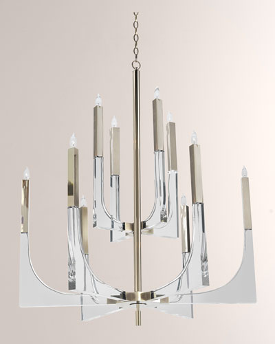 10-Light Acrylic & Nickel Chandelier