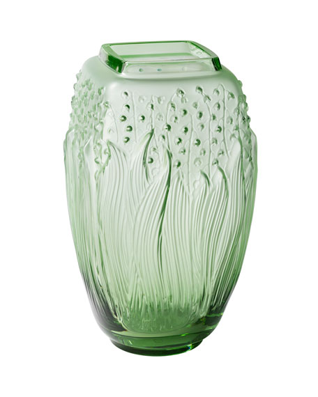 Lalique Green Muguet Vase