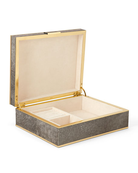 Large Chocolate Faux-Shagreen Jewelry Box