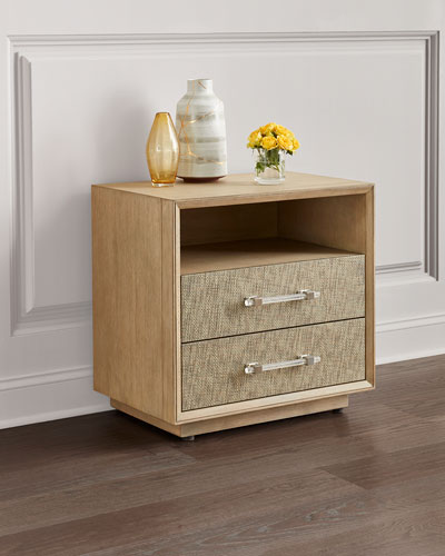 Mia Grass Cloth Bedside Chest