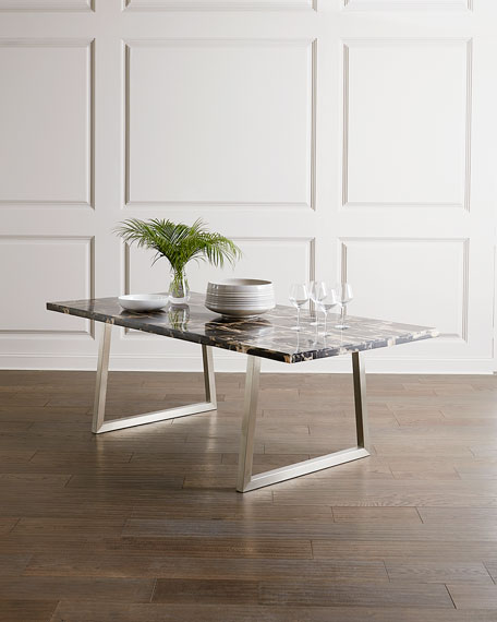 Bernhardt Pierre Noir Petrified Stone Dining Table