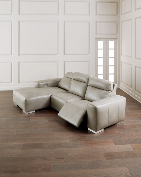 Elba Leather Power-Motion Sofa Chaise