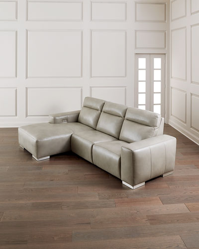 Elba Leather Power-Motion Sofa Chaise