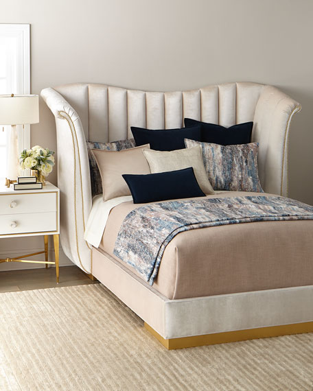 Moira Snow Channel Tufted King Bed