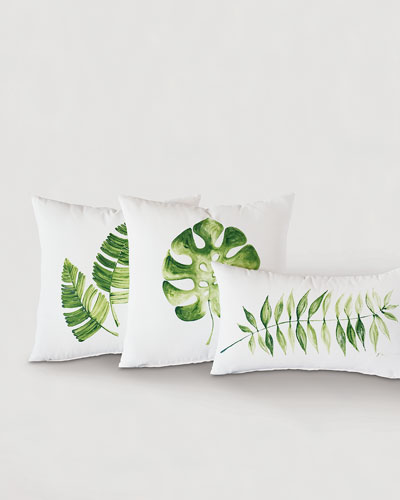 Hand Painted Double Leaf Pillow