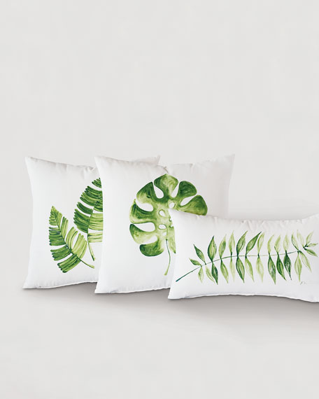 Eastern Accents Hand Painted Double Leaf Pillow