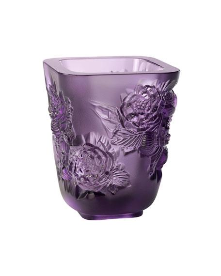 Lalique Purple Pivoines Small Vase