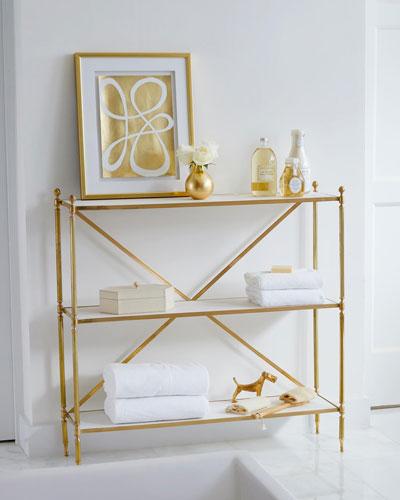 Acorn Brass Open Shelf Console