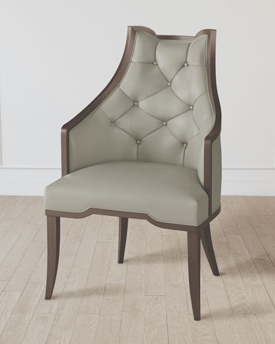 Logan Walnut/Chesterfield Gray Leather Arm Chair