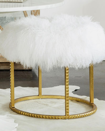 Stud Gold Leaf Pouf