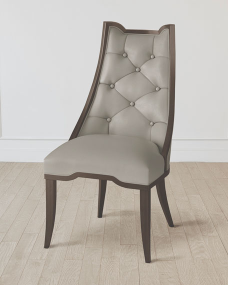 Logan Walnut/Chesterfield Gray Leather Dining Chair
