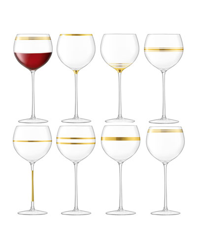 Deco Assorted Wine Goblets  Set of 8