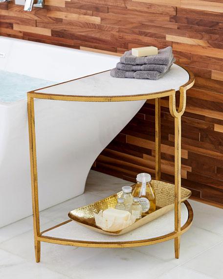 William D Scott Demilune Gold Side Table