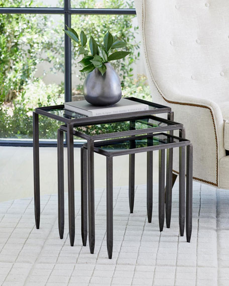 Nested Tables with Smoke Glass Tops, Set of 3