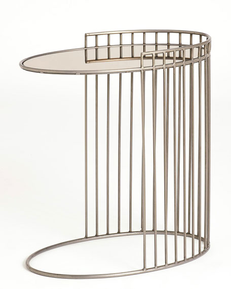 Oval Side Table with Bronze Mirror Top
