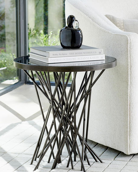 Stix Side Table with Bronze Glass Top