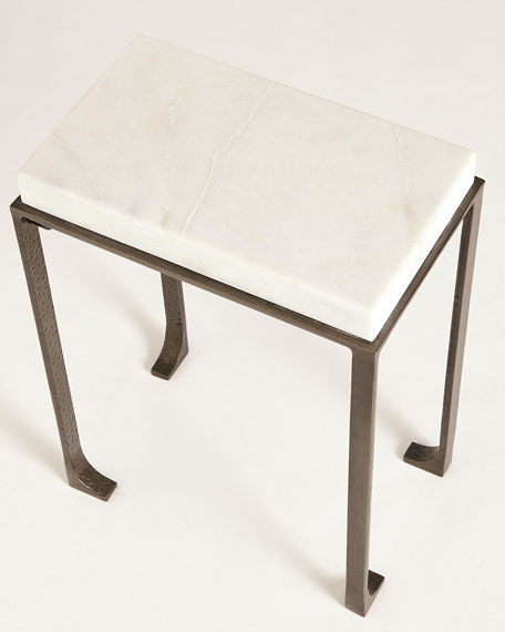 Small Zen Side Table with White Honed Marble Top