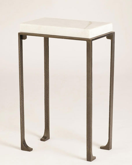 Large Zen Side Table with White Honed Marble Top