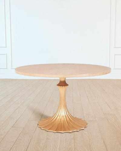 48 Cerused Oak Top Dining Table