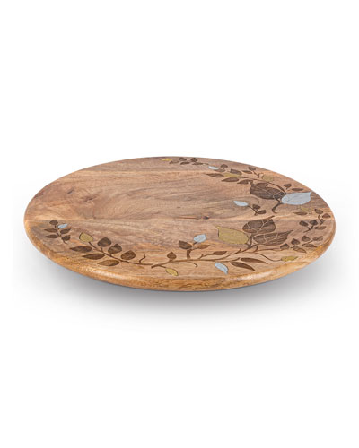 Mango Wood Metal Inlay Leaf Lazy Susan