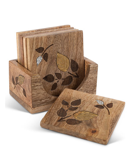 Mango Wood Laser Metal Inlay Leaf Coasters, Set of 6