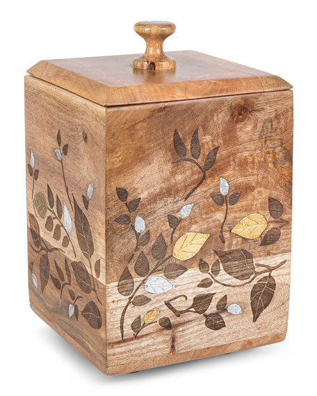 Mango Wood Laser Metal Inlay Leaf Large Canister