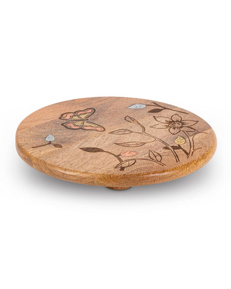 G G Collection Mango Wood Laser Butterfly Round