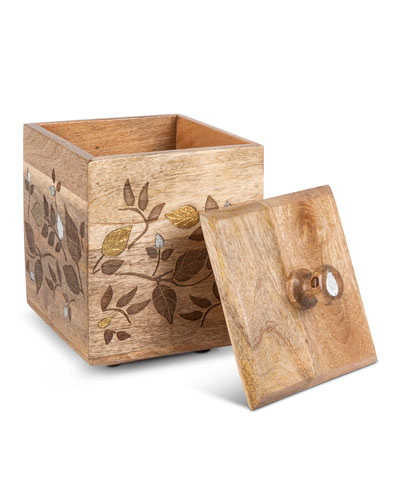 Mango Wood Laser Metal Inlay Leaf Medium Canister