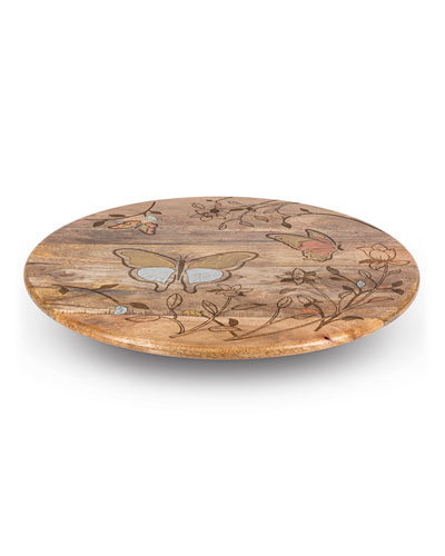 Mango Wood Laser Butterfly Lazy Susan
