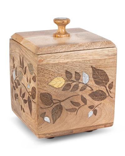 Mango Wood Laser Metal Inlay Leaf Small Canister