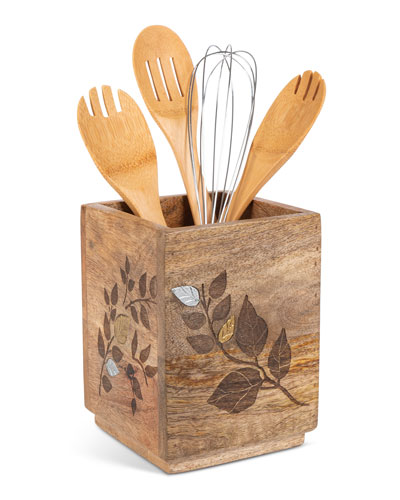 Mango Wood Laser Metal Inlay Leaf Utensil Holder