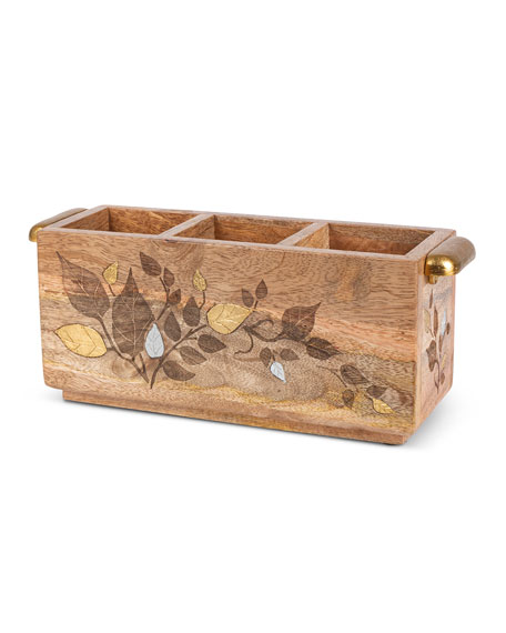 Mango Wood Laser Metal Inlay Flatware Caddy