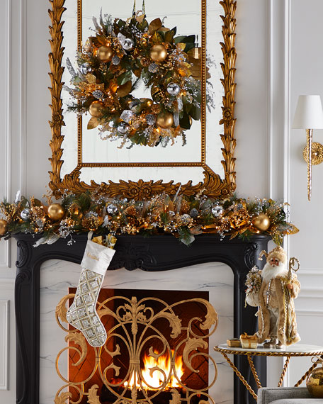 """Prelit Silver And Gold Christmas Wreath - 28"""""""