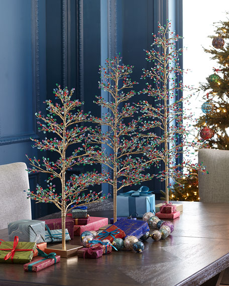 """24"""" Loop Wire Tabletop Christmas Tree with Multicolor Glass Cullets"""