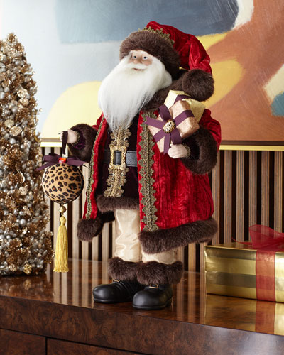 20 Leopard Santa w/ Ball Ornament