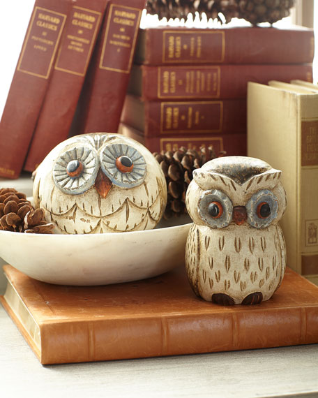 Exclusive Carved Wooden Blue Owls, Set of 2