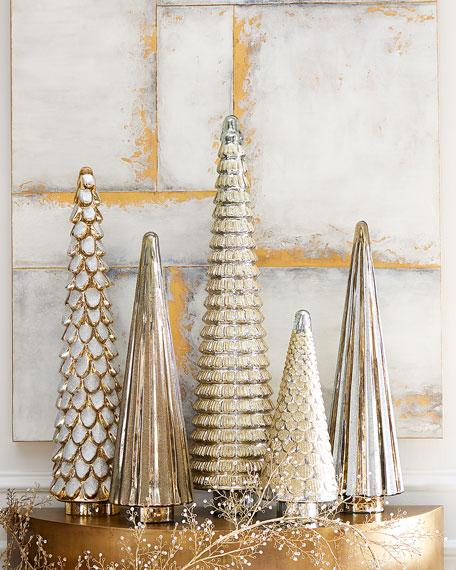 "36"" Gold Glittered Glass Tree"