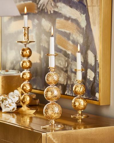 12 Gold Cut Candleholder